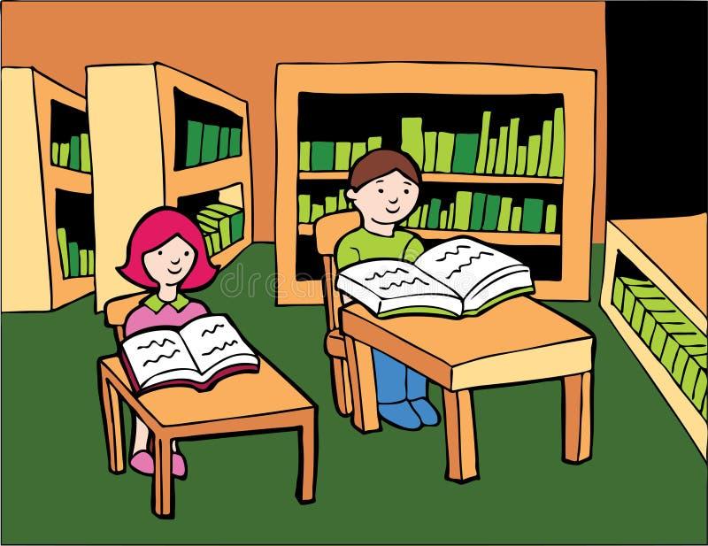 El estudiar de la biblioteca stock de ilustración