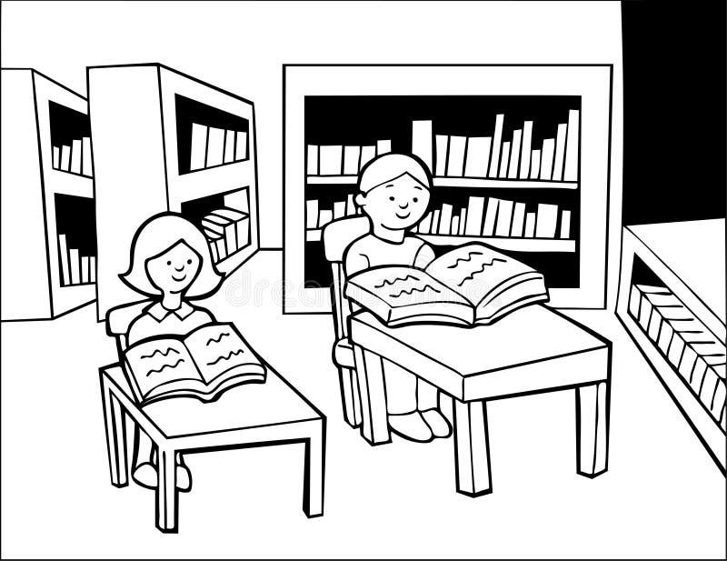 El estudiar de la biblioteca - blanco y negro