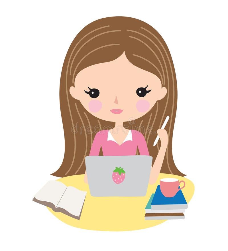 El estudiar del adolescente o de la mujer joven libre illustration