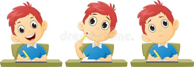 El estudiar del muchacho de la historieta stock de ilustración