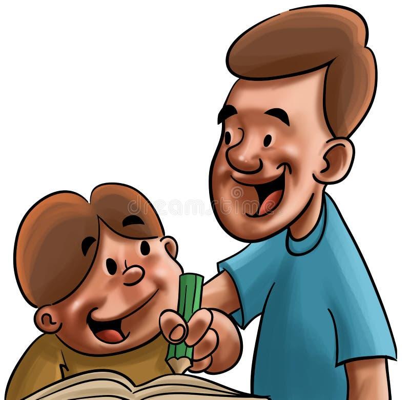 El estudiar del papá y del hijo ilustración del vector