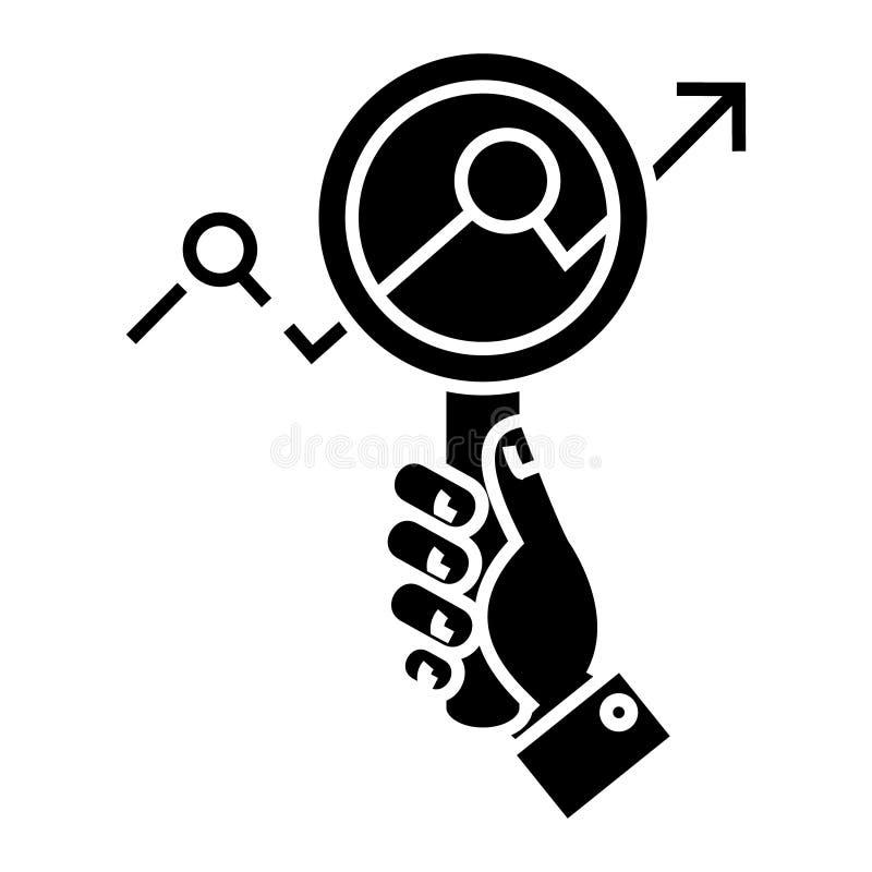 El estudio de mercados - enfoque a disposición - que busca tiende el icono, ejemplo del vector, muestra negra en fondo aislado stock de ilustración