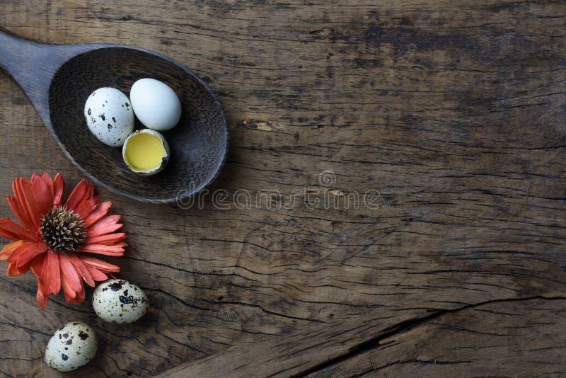 El estudio tiró de huevos en un fondo de madera imagen de archivo