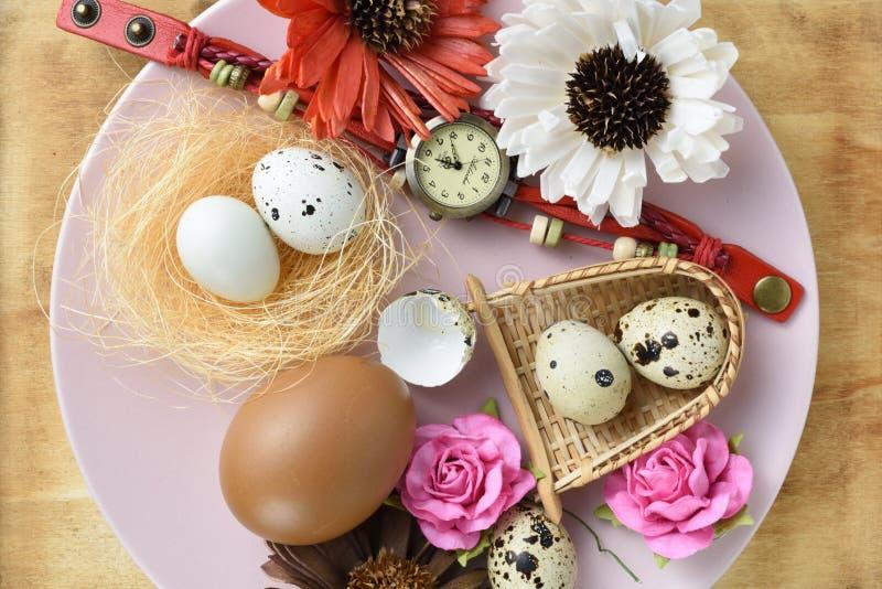 El estudio tiró de los huevos y del objeto de codornices en plato foto de archivo