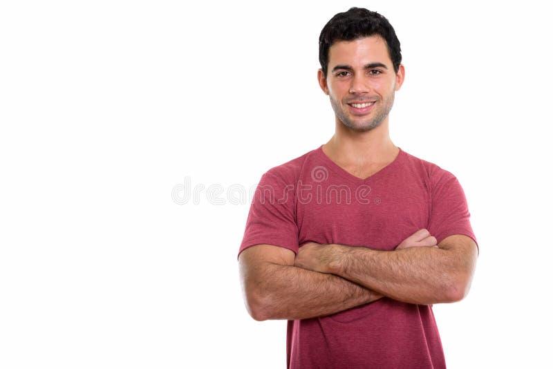 El estudio tiró del hombre hispánico hermoso feliz joven que sonreía con AR imágenes de archivo libres de regalías