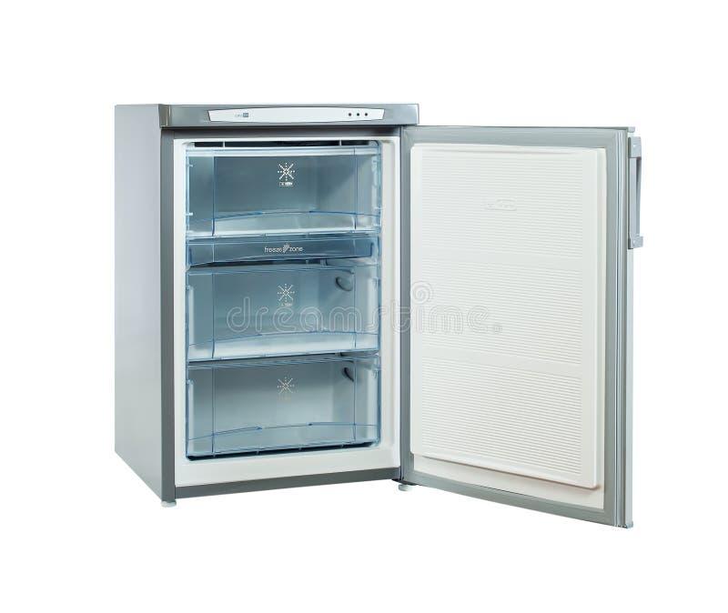 El estudio tiró el pequeño refrigerador del acero inoxidable aislado en blanco fotos de archivo libres de regalías