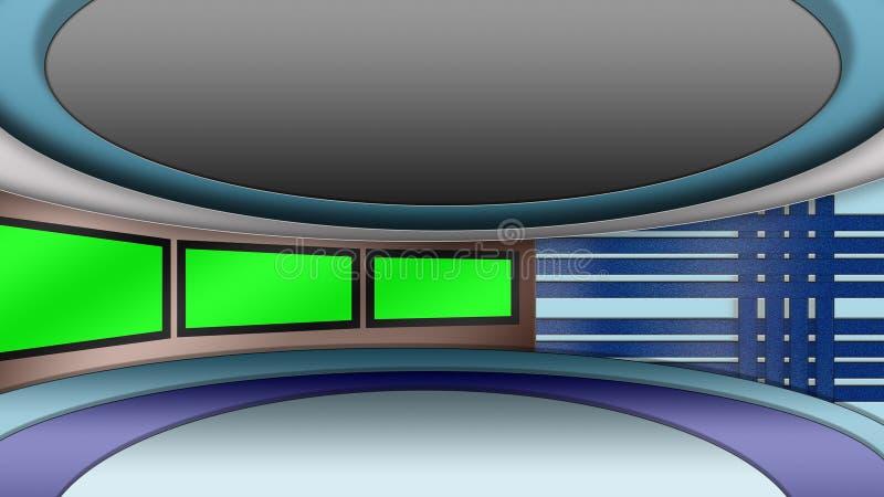 El estudio virtual de las noticias de la TV fijó con las pantallas verdes libre illustration