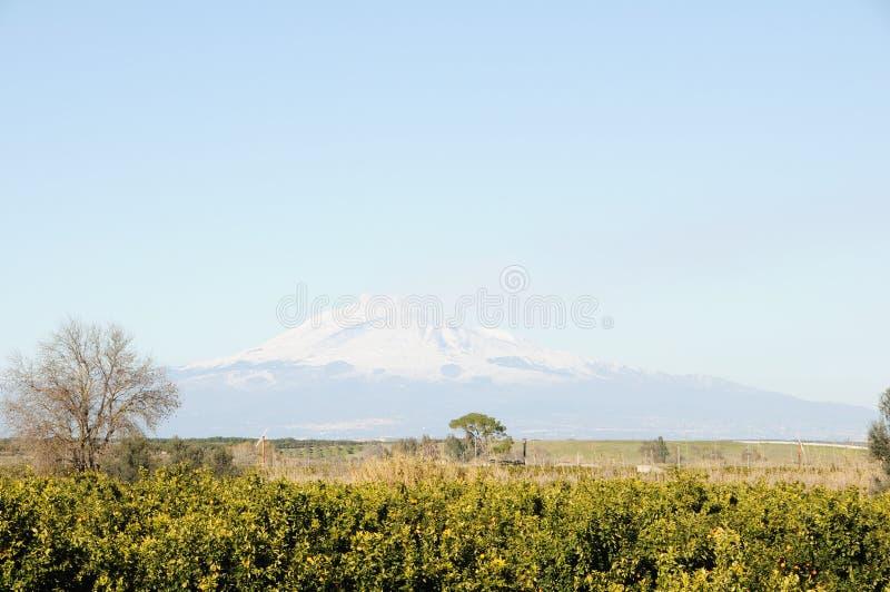 El Etna vulcan y país imagen de archivo libre de regalías