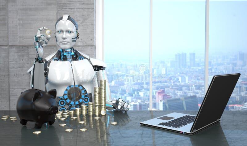 El euro del robot acuña el cuaderno de la hucha ilustración del vector