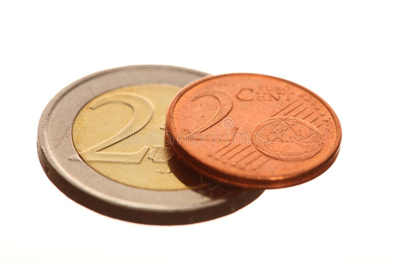 El euro europeo de la moneda acuña el dinero en blanco fotos de archivo