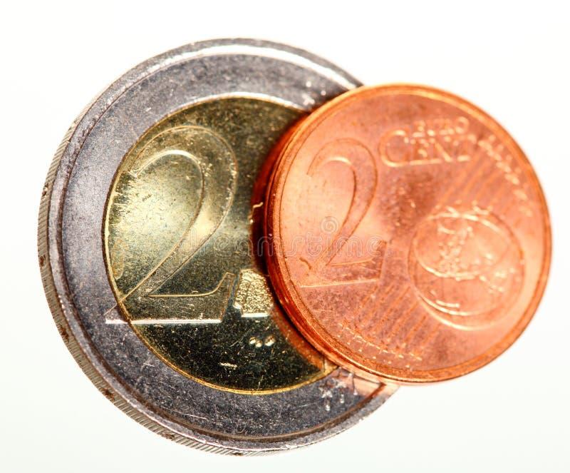 El euro europeo de la moneda acuña el dinero en blanco foto de archivo libre de regalías