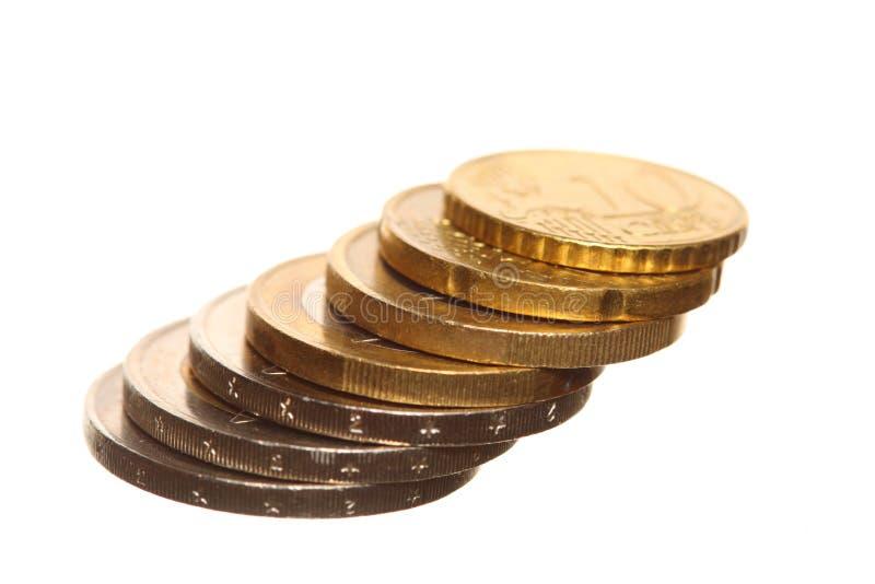 El euro europeo de la moneda acuña el dinero en blanco imágenes de archivo libres de regalías
