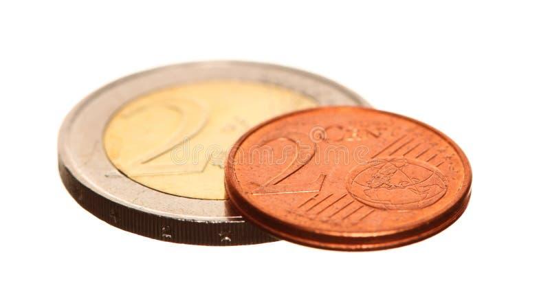 El euro europeo de la moneda acuña el dinero en blanco imagen de archivo libre de regalías