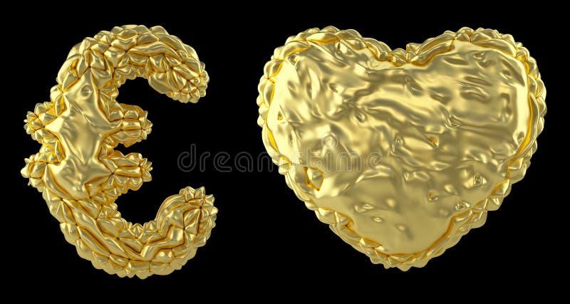El euro y el corazón de la colección del símbolo hechos de 3d realista rinden la hoja de oro arrugada Colecci?n de s?mbolo arruga stock de ilustración