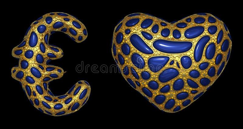El euro y el coraz?n de la colecci?n del s?mbolo hechos de 3d realista rinden met?lico brillante de oro libre illustration