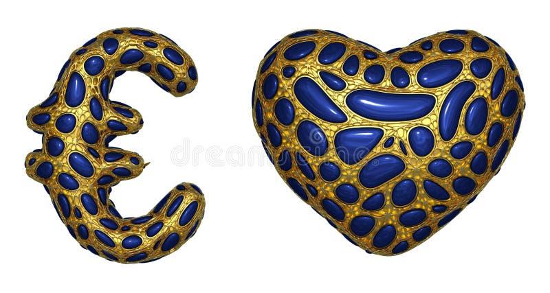 El euro y el coraz?n de la colecci?n del s?mbolo hechos de 3d realista rinden met?lico brillante de oro stock de ilustración