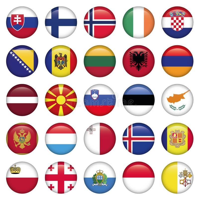 El europeo abotona alrededor de banderas ilustración del vector