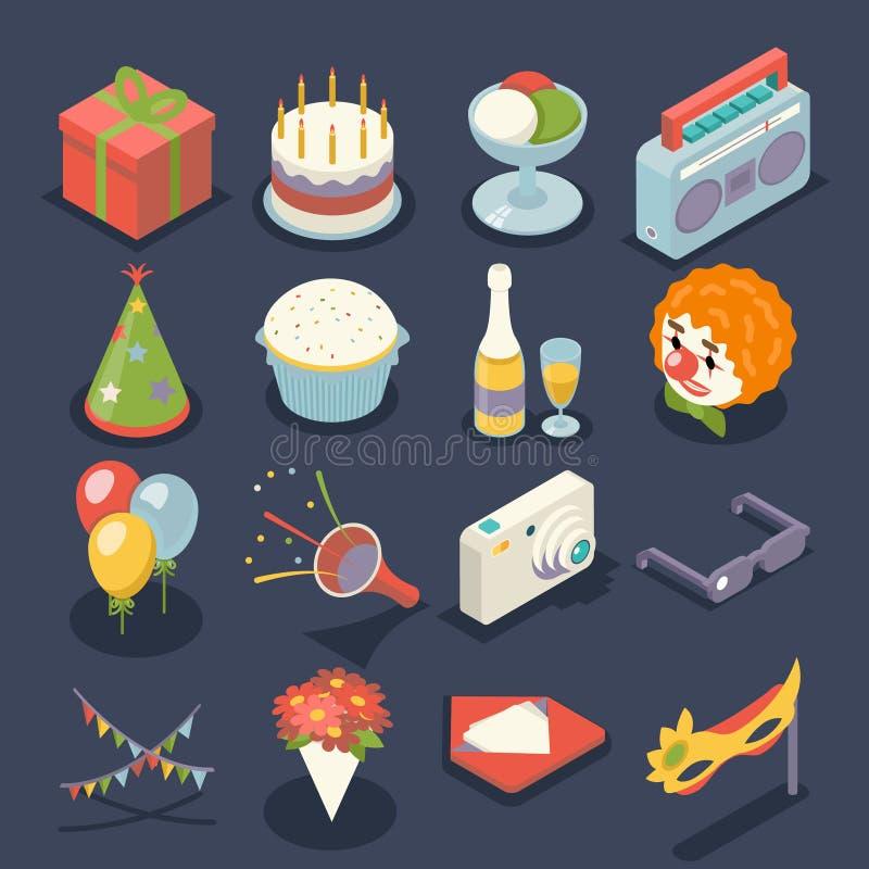 El evento de la fiesta de cumpleaños de la diversión celebra iconos de la noche y el ejemplo plano isométrico determinado del vec stock de ilustración