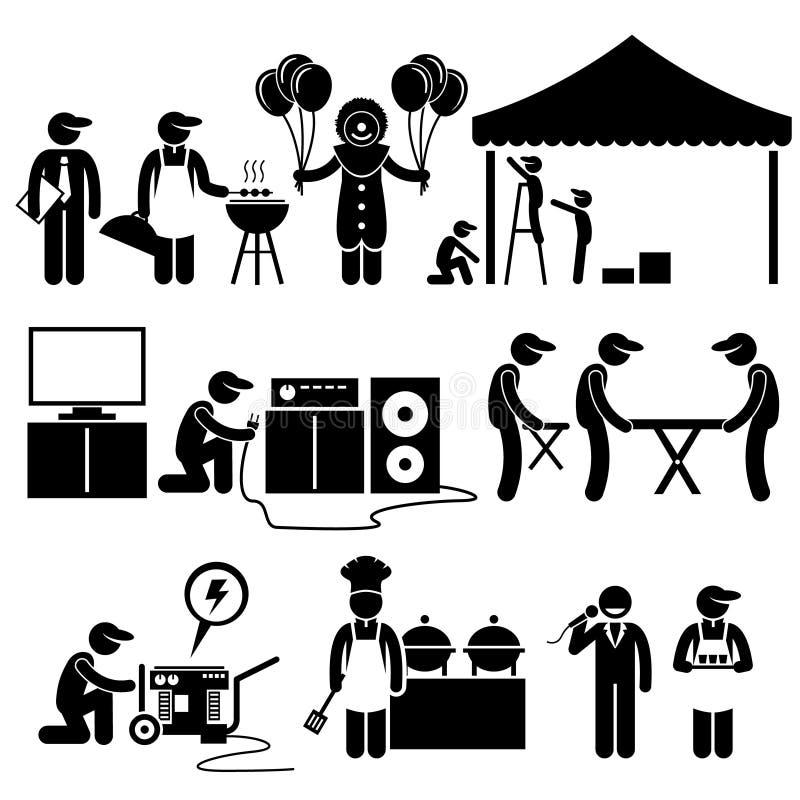 El evento del festival del partido de la celebración mantiene Clipart stock de ilustración