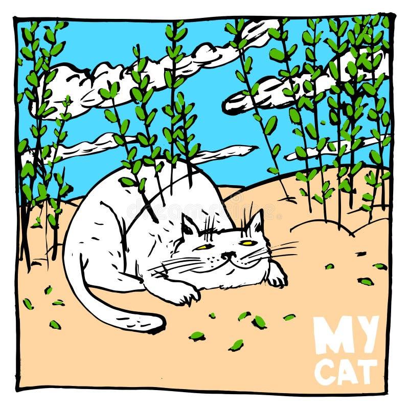 El excéntrico del gato ama enmascarar en los arbustos Bueno para las impresiones y otras publicaciones en los niños y no sólo las stock de ilustración