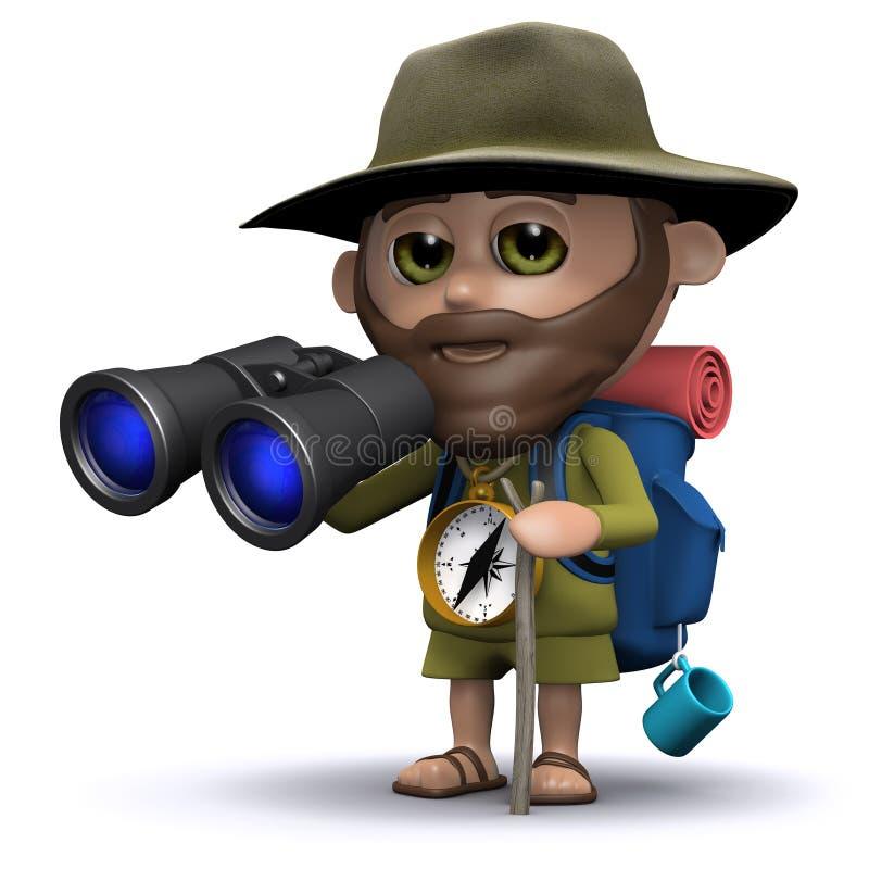 el explorador 3d mira a través de los prismáticos ilustración del vector