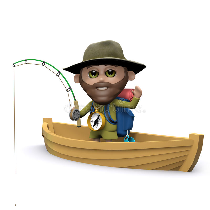 el explorador 3d va a pescar en su barco libre illustration