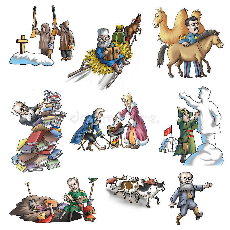 El explorador ruso celebrado ilustración del vector