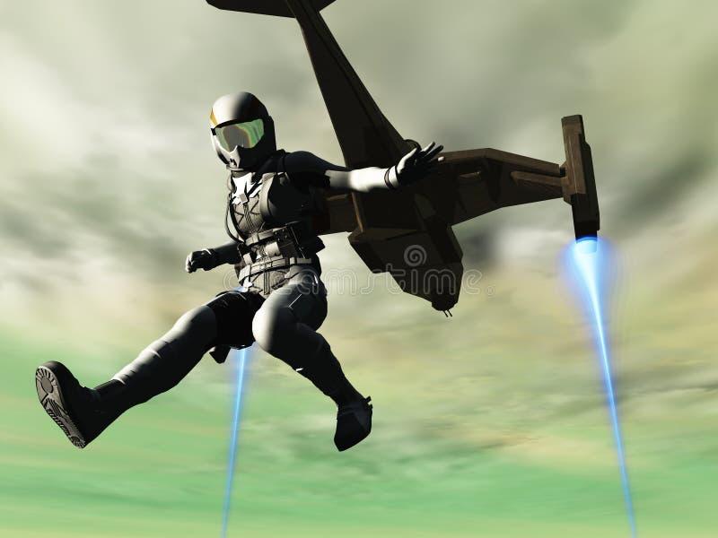 El explorador salta de lanzadera ilustración del vector