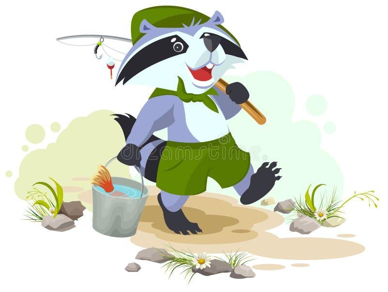 El explorador va a pescar El explorador del mapache lleva el cubo de pescados Pescador con la barra de pesca libre illustration