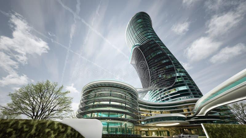 El exterior curvó el diseño del hotel de lujo, edificio alto, architec stock de ilustración