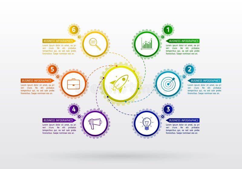 El extracto adapta infographic con 6 pasos Mecanismo con el integrat stock de ilustración