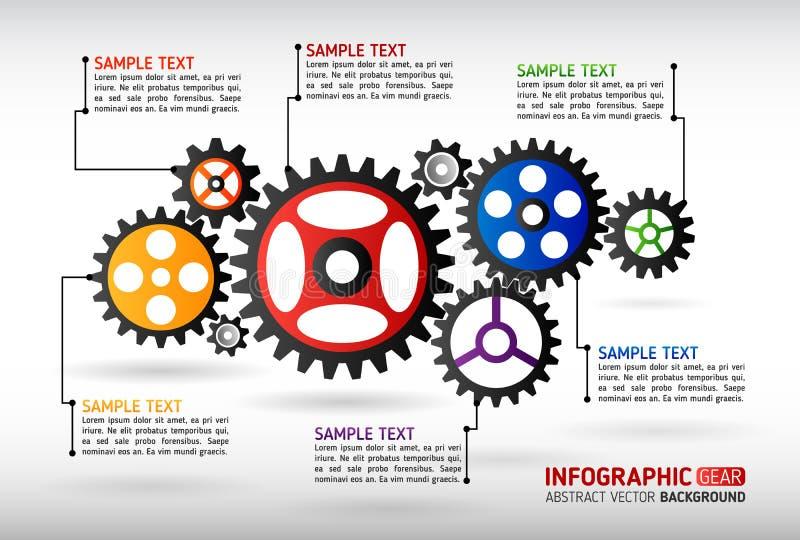 El extracto adapta infographic Mecanismo con los engranajes integrados para stock de ilustración