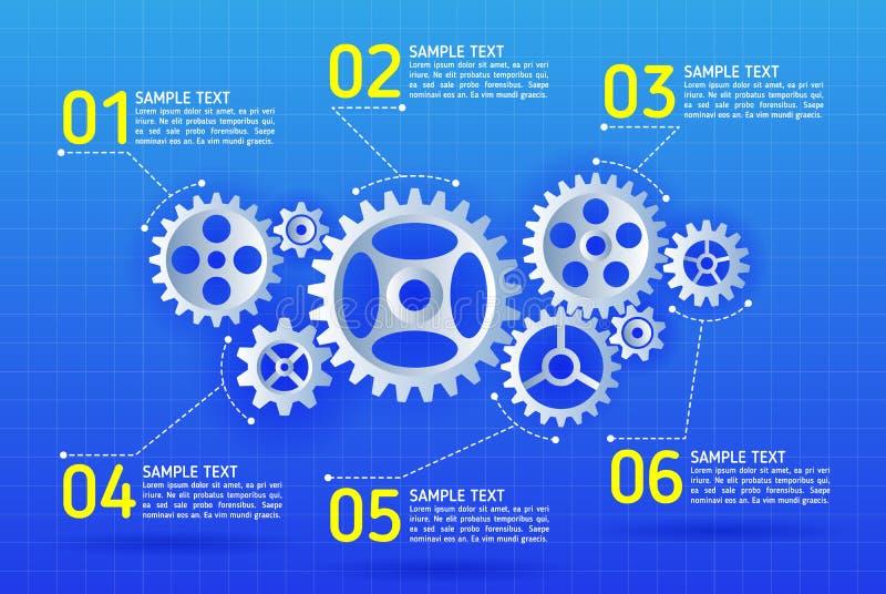 El extracto adapta infographic Mecanismo con los engranajes integrados para libre illustration