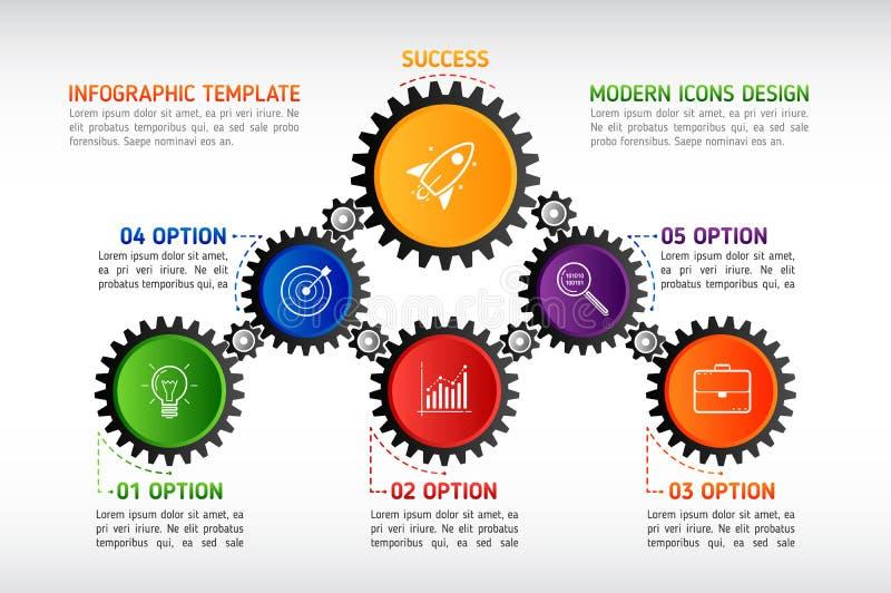 El extracto adapta infographic Mecanismo con los engranajes integrados y libre illustration