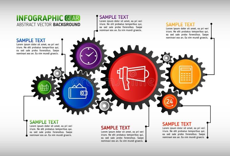 El extracto adapta infographic Mecanismo con los engranajes integrados y ilustración del vector