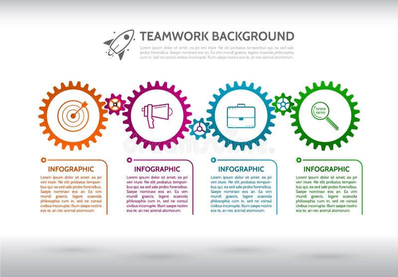 El extracto adapta infographic Mecanismo con los engranajes integrados y stock de ilustración
