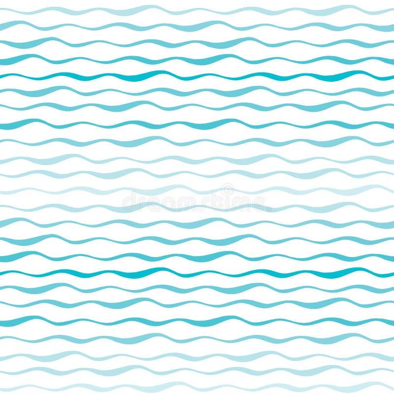 El extracto agita el modelo inconsútil Líneas onduladas de fondo dibujado mano del mar o del océano ilustración del vector