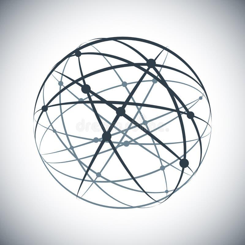 El extracto alinea la esfera de la red en el fondo blanco libre illustration