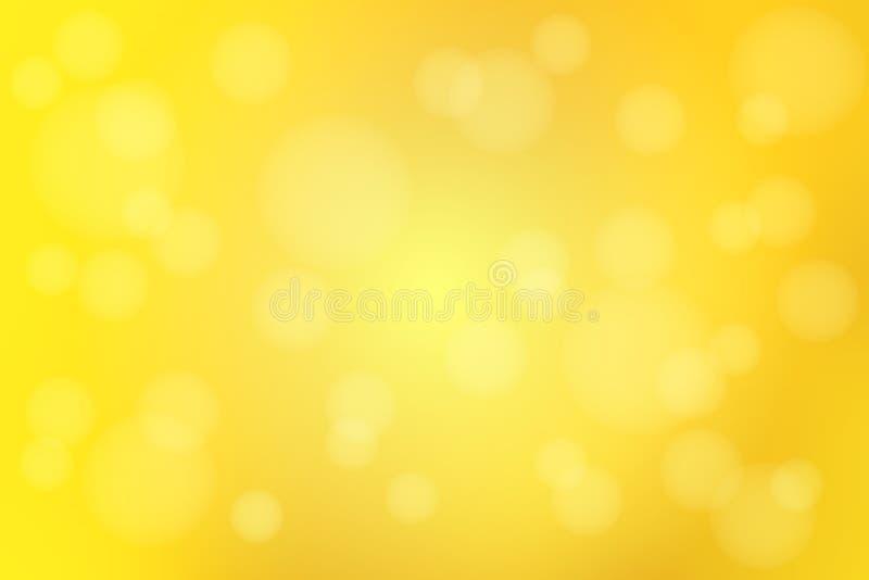 El extracto amarillo de oro brillante con el bokeh enciende backgrou borroso ilustración del vector