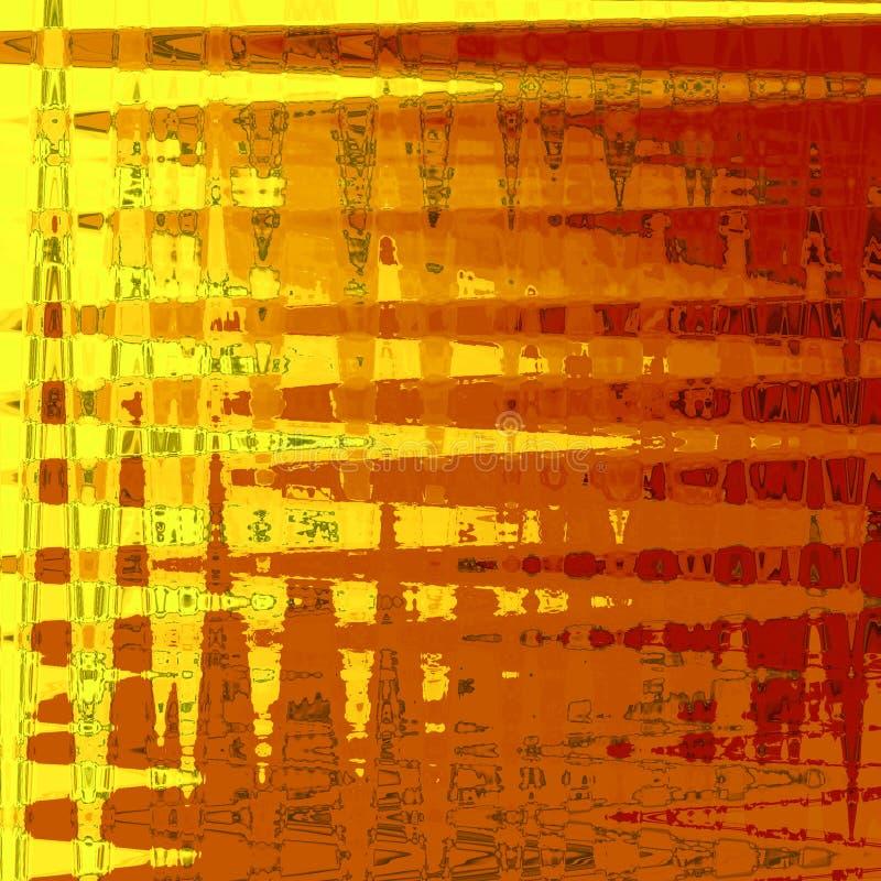 El extracto anaranjado de lujo del adorno de la tarjeta del otoño rayó el fondo con las líneas y el zigzag, modelo en colores de  libre illustration