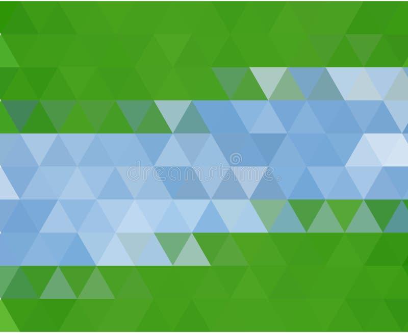 El extracto azul claro, verde del vector texturizó el fondo poligonal Diseño borroso del triángulo stock de ilustración