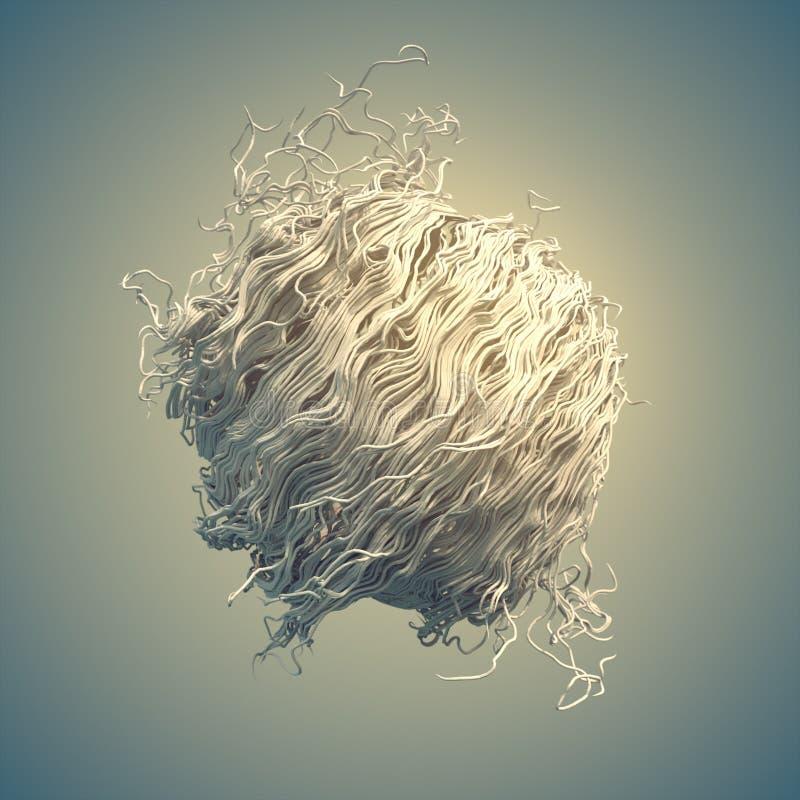 El extracto blanco del flujo del ruido del rizo alinea la representación 3d stock de ilustración