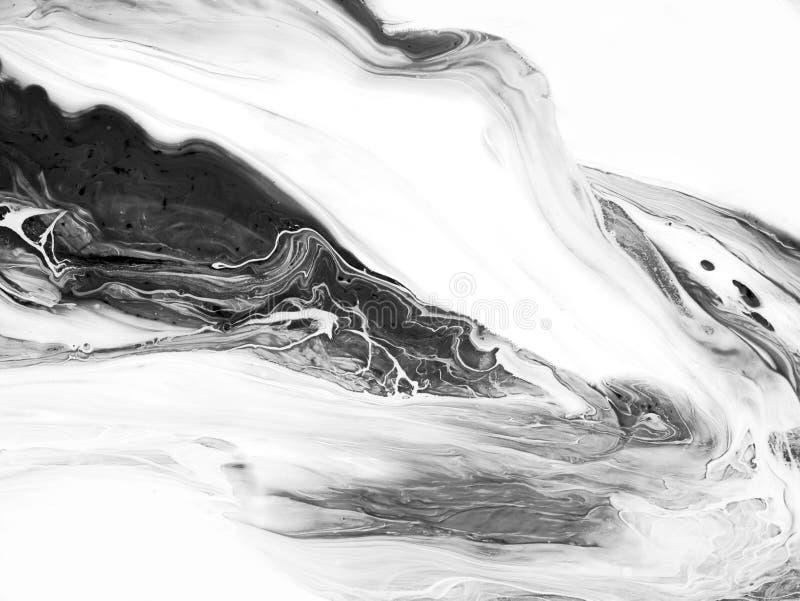El extracto blanco y negro pintó el fondo, papel pintado, textura Arte moderno stock de ilustración