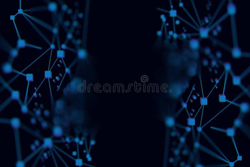 El extracto cibernético digital de los datos azules conecta con el fondo de la red foto de archivo libre de regalías