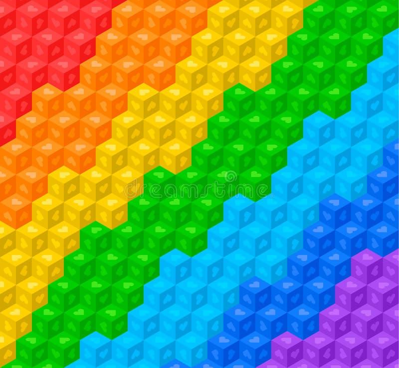 El extracto coloreado arco iris 3d cubica el fondo geométrico con los corazones stock de ilustración