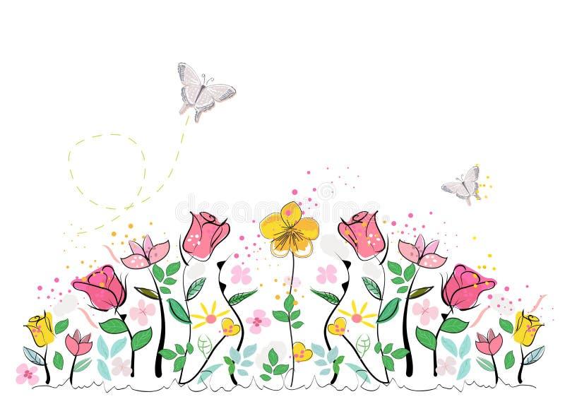 El extracto colorido del tiempo de verano florece el fondo del vector stock de ilustración