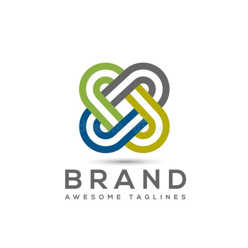 El extracto conecta el logotipo de la empresa de negocios del color stock de ilustración