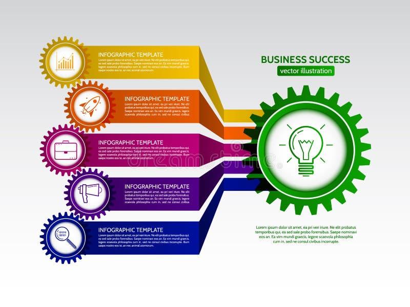 El extracto conectado adapta infographics del negocio del estilo stock de ilustración