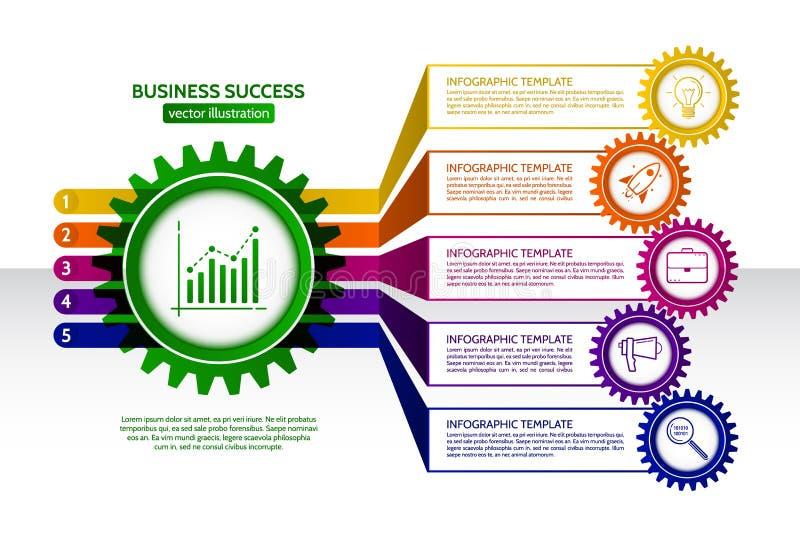 El extracto conectado adapta infographics del negocio del estilo libre illustration