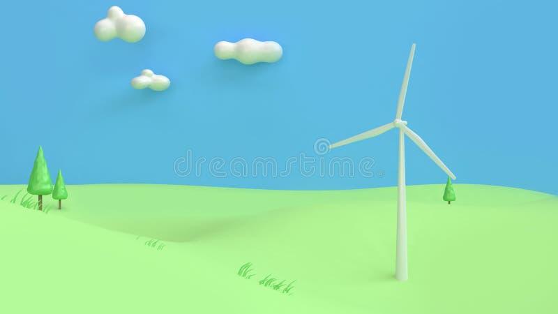 el extracto 3d del estilo de la historieta del cielo azul de la montaña del campo del verde de la turbina de viento rinde, concep ilustración del vector
